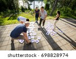 high angle view of friends... | Shutterstock . vector #698828974
