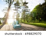 wooden planks on patio in... | Shutterstock . vector #698829070
