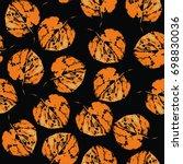 watercolor orange leaves... | Shutterstock . vector #698830036