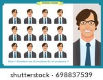 set of male facial emotions.... | Shutterstock .eps vector #698837539