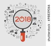 2018 text design on creative... | Shutterstock .eps vector #698839066