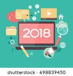 2018 blogging infographics.... | Shutterstock .eps vector #698839450