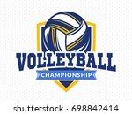 volleyball championship logo ... | Shutterstock .eps vector #698842414