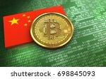 3d illustration of bitcoin over ... | Shutterstock . vector #698845093