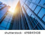 abstract building. blue glass... | Shutterstock . vector #698845438