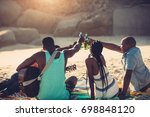 young people toasting with beer ...   Shutterstock . vector #698848120