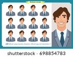 set of male facial emotions.... | Shutterstock .eps vector #698854783