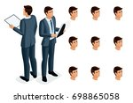 isometric icons of woman's... | Shutterstock .eps vector #698865058