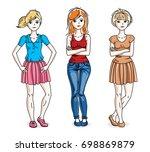 attractive young women posing... | Shutterstock . vector #698869879