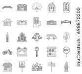 eco city icons set. outline set ... | Shutterstock .eps vector #698870200