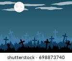 Old Graveyard With Crosses In...