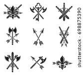 vintage weapon emblems set.... | Shutterstock . vector #698875390