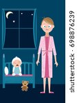 sleep deprived mother with... | Shutterstock .eps vector #698876239