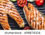 Grilled Salmon Steak In Grill...