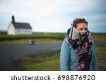 beautiful girl traveler getting ... | Shutterstock . vector #698876920
