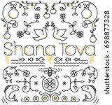 shana tova card  rosh hashanah... | Shutterstock .eps vector #698877328