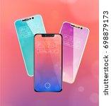 three frameless futuristic...   Shutterstock .eps vector #698879173