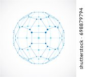 abstract 3d faceted figure with ... | Shutterstock . vector #698879794