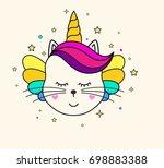 cute unicorn face. children's...   Shutterstock .eps vector #698883388