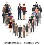 office employee team standing... | Shutterstock . vector #698886199
