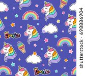 colorful cute seamless pattern... | Shutterstock .eps vector #698886904