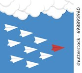 red paper airplane as a leader... | Shutterstock .eps vector #698893960