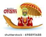 happy onam greeting card. hindu ... | Shutterstock .eps vector #698895688