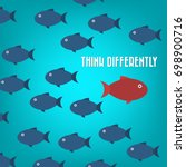 think differently  one red... | Shutterstock .eps vector #698900716