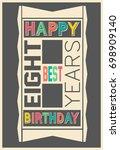 stylish happy birthday gift... | Shutterstock .eps vector #698909140