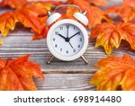 autumn leaves background ... | Shutterstock . vector #698914480