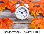 autumn leaves background ... | Shutterstock . vector #698914480