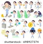 set of various poses of white...   Shutterstock .eps vector #698927374