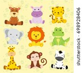 safari animal vector with doll... | Shutterstock .eps vector #698928406