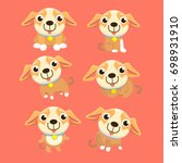 cute chihuahua set in different ... | Shutterstock .eps vector #698931910