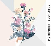 set of summer flora with... | Shutterstock .eps vector #698965576