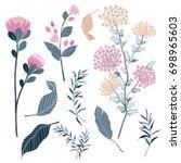set of summer flora with... | Shutterstock .eps vector #698965603