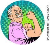 we can do it old man retired... | Shutterstock .eps vector #698972644