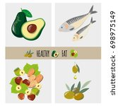 foods with wholesome fat.... | Shutterstock .eps vector #698975149