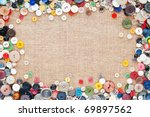 Buttons Frame On Fabric Texture ...