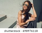 outdoor portrait of a young... | Shutterstock . vector #698976118