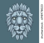lion head with shadows... | Shutterstock .eps vector #698978023