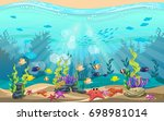 the beauty of underwater life... | Shutterstock .eps vector #698981014