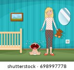 woman is standing next to a... | Shutterstock .eps vector #698997778