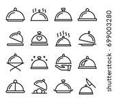 platter line vector icons set