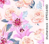 seamless pattern with lilies... | Shutterstock .eps vector #699016480