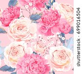 seamless pattern with peonies... | Shutterstock .eps vector #699016504