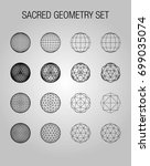 sacred geometry. dodecahedron.... | Shutterstock .eps vector #699035074