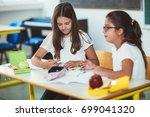 portrait of two girls in the... | Shutterstock . vector #699041320