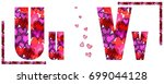 letter u and v made from hearts.... | Shutterstock .eps vector #699044128