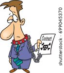 cartoon man who is chained to a ... | Shutterstock .eps vector #699045370